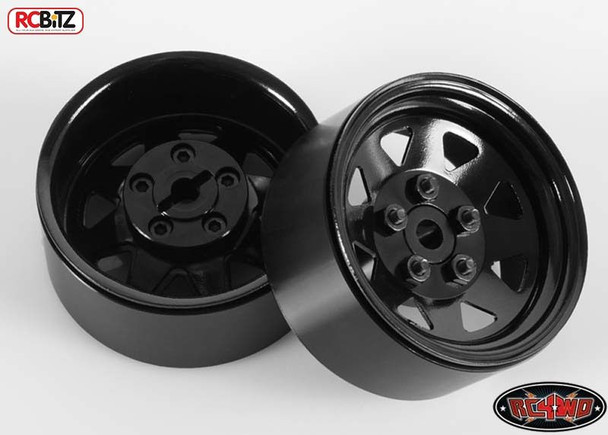 5 Lug Wagon 1.9 scale Steel Stamped Beadlock Wheels BLACK Pin Mount realistic[(4) One Set]