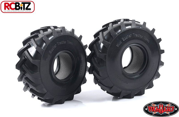 Pair Mud Basher 2.2 Scale Tractor Tires RC4WD Large MUDDING Tyre Z-T0129 Basher