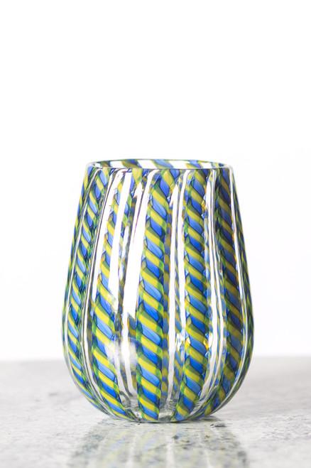 Cane Wine Glass - Blue & Yellow