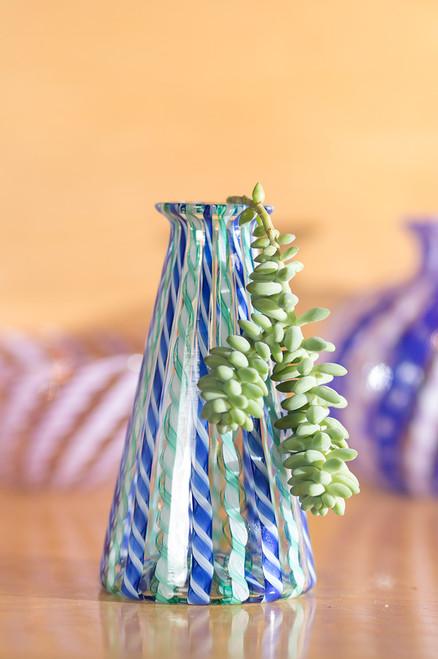 Cane Beaker - Blue, Teal, & White