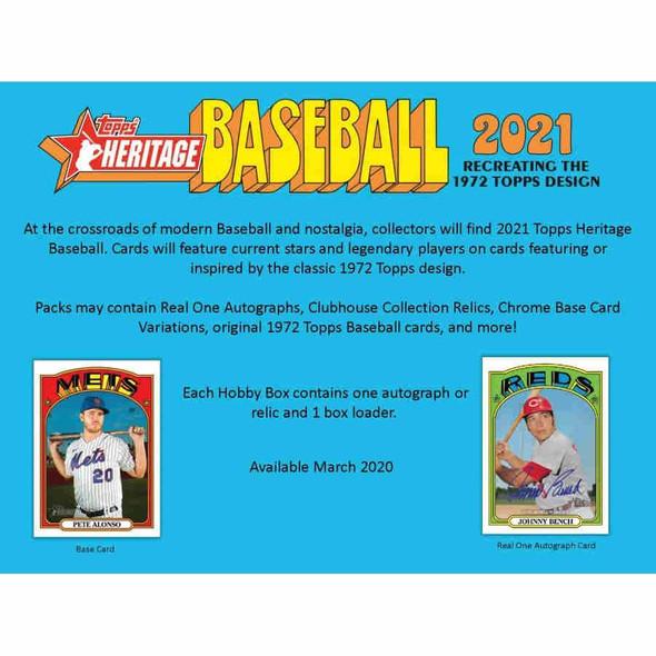 2021 Topps Heritage Baseball Hobby Box