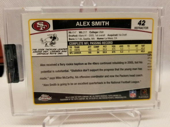 2006 Alex Smith Topps Chrome Red Refractor Uncirculated #d /259