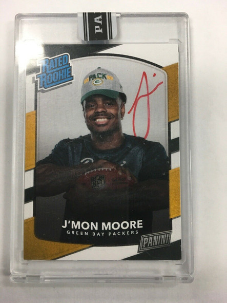 2018 Panini Rookie Premiere Rated Rookie Red Ink J'Mon Moore Auto RC #d 4/5