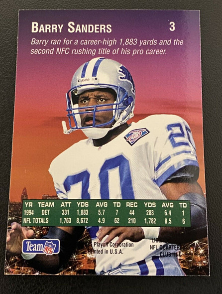 Barry Sanders 1995 Playoff Absolute Prime Pigskin Previews Lions
