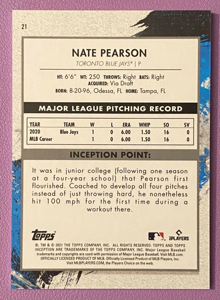 Nate Pearson 2021 Topps Inception Rookie