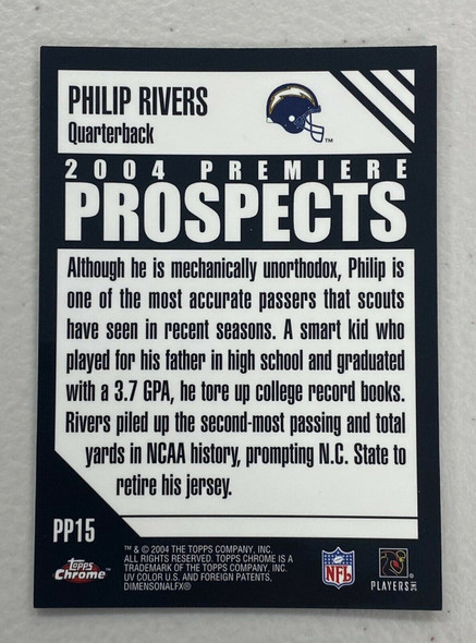 Philip Rivers 2004 Topps Chrome Rookie Chargers