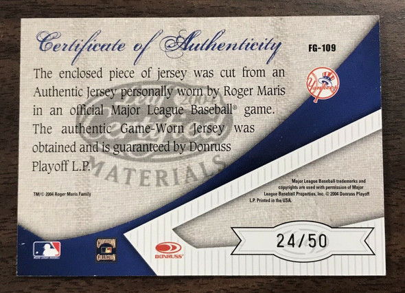 ROGER MARIS 2004 LEAF CERTIFIED Fabric Of The Game Patch 24/50