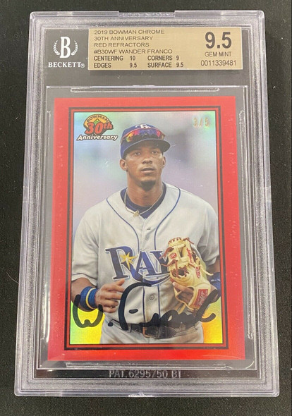 Wander Franco 2019 Topps Bowman Chrome 30th Anniversary Red Refractor /5 BGS 9.5