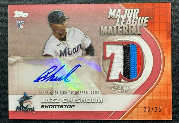 Jazz Chisholm 2021 Topps Series 2 Major League Material Rookie Patch Auto /25