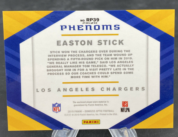 Easton Stick 2019 Panini Donruss Optic Rookie Phenoms Silver Patch CHARGERS