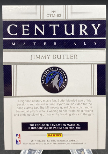 Jimmy Butler 2017-18 Panini National Treasures Century Materials Patch /49