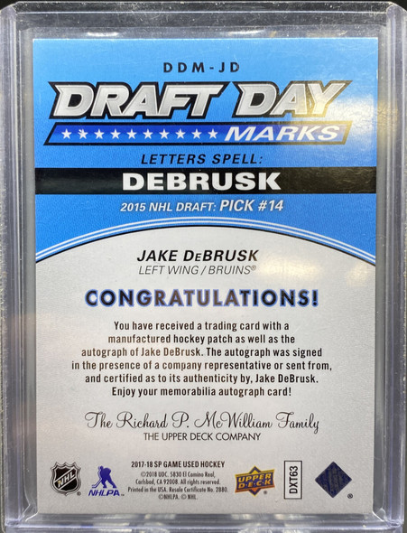 Jake Debrusk 2017-2018 Upper Deck SP Game Used Draft Day Marks Patch Auto /35