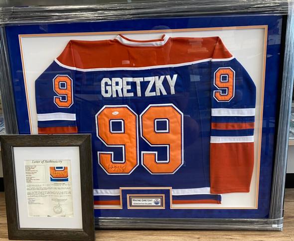 Wayne Gretzky Framed Signed Oilers Jersey with JSA Certification