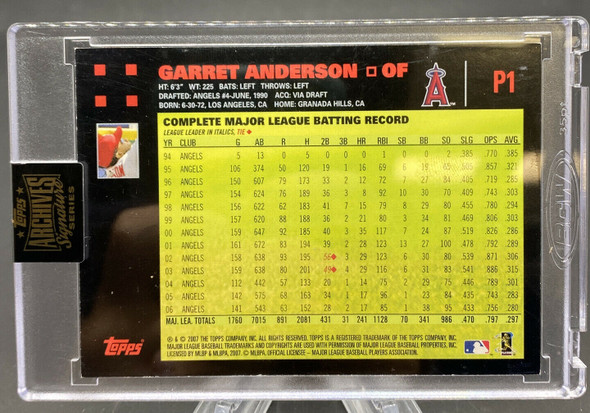 Garret Anderson 2021 Topps Archives Signature Series 1/1 ANGELS