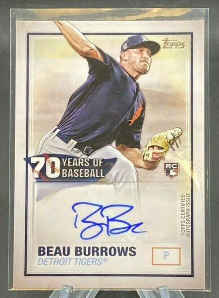 Beau Burrows 2021 Topps 70 Years of Baseball Rookie Autograph Detroit Tigers