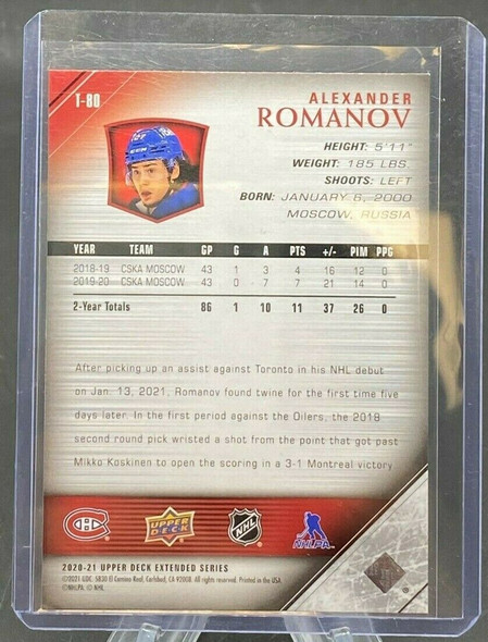 Alexander Romanov 2020-21 Upper Deck Extended Series Young Guns Tribute