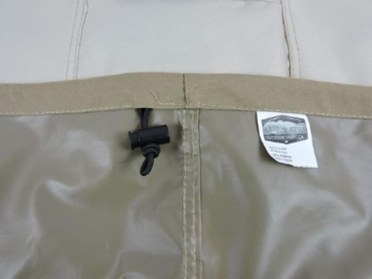 Savanna shock cord hem with adjustable lock for snug fit