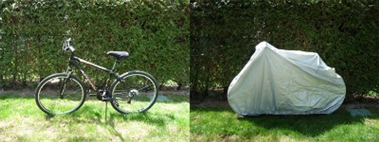 Weather Guard Bicycle cover actual on off view