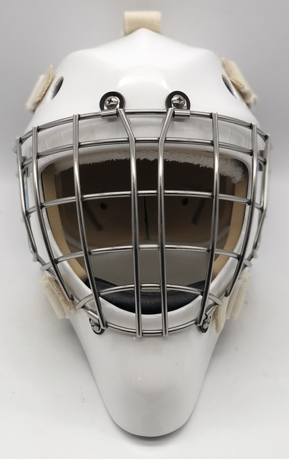 OTNY X1 Kevlar Certified Goalie Mask with Certified Straight Bar Cage - White/Stainless Steel