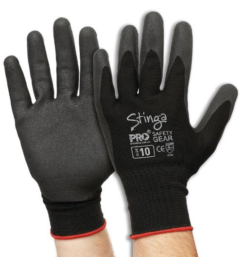 GLOVE STINGA BLACK Size 10 Water Repellent Palm