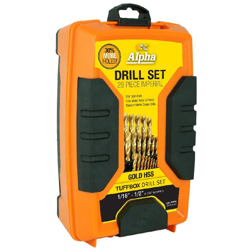 "Drill Set IMPERIAL 29pcs 1/16"" to 1/2"" Tuffbox ALPHA"