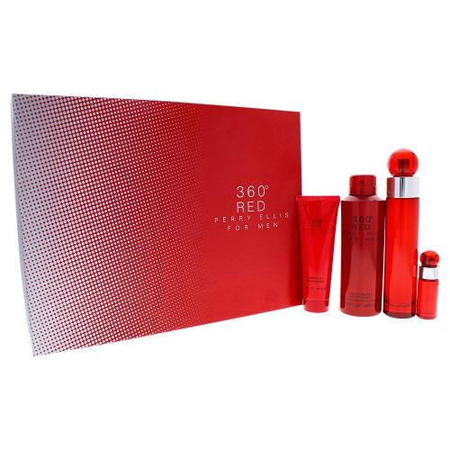 360 RED 4 PCS SET FOR MEN: 3.4 EAU DE TOILETTE SPRAY + 6.8 DEODORIZING BODY SPRAY + 3 OZ SHOWER GEL + .25 OZ EAU DE TOILETTE SPRAY (HARD BOX)