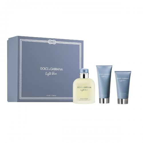 DOLCE & GABBANA LIGHT BLUE 3 PCS SET FOR MEN: 4.2 EAU DE TOILETTE SPRAY + 2.5 AFTER SHAVE BALM + 1.6 SHOWER GEL