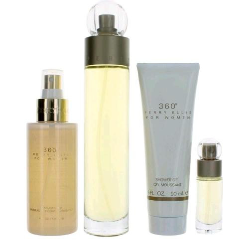 360 4 PCS SET FOR WOMEN: 3.4 EAU DE TOILETTE SPRAY + 4 OZ BODY MIST SPRAY + 3 OZ SHOWER GEL + 0.25 OZ EAU DE TOILETTE SPRAY