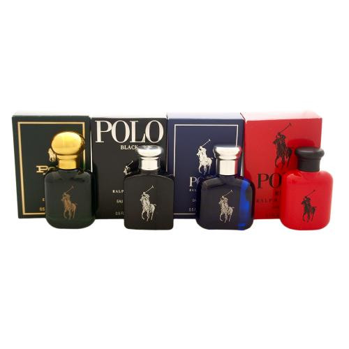 POLO 4 PCS MINI SET FOR MEN: POLO 0.5 OZ EAU DE TOILETTE + POLO BLACK 0.5 OZ EAU DE TOILETTE + POLO BLUE 0.5 OZ EAU DE TOILETTE + POLO RED 0.5 OZ EAU DE TOILETTE