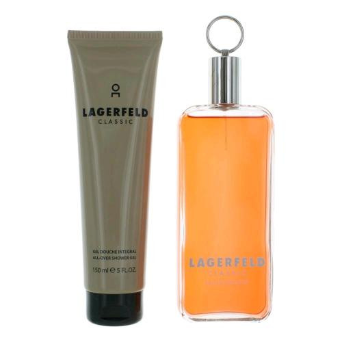 LAGERFELD 2 PCS SET FOR MEN: 5 OZ EAU DE TOILETTE SPRAY + 5 OZ SHOWER GEL (WINDOW BOX)