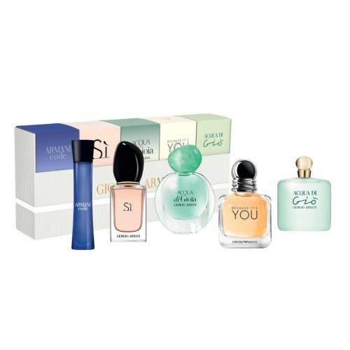 GIORGIO ARMANI 5 PCS SET FOR WOMEN: ARMANI CODE 3 ML EAU DE TOILETTE + ARMANI SI 7 ML EAU DE PARFUM + ACQUA DI GIOIA 5 ML EAU DE PARFUM + BECAUSE IT'S YOU 7 ML EAU DE PARFUM + ACQUA DI GIO 5 ML EAU DE PARFUM
