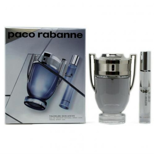 PACO INVICTUS 2 PCS SET: 3.4 EAU DE TOILETTE SPRAY + 0.68 OZ EAU DE TOILETTE TRAVEL SPRAY (TRAVEL SET)