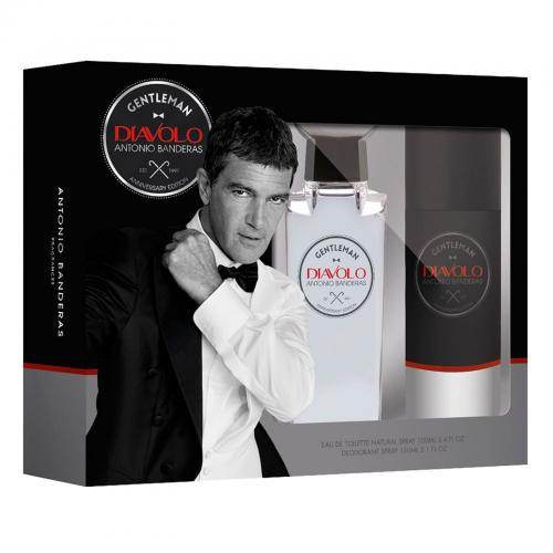 ANTONIO BANDERAS GENTLEMAN DIAVOLO 2 PCS SET: 3.4 EAU DE TOILETTE SPRAY + 5.1 OZ DEODORANT SPRAY (WINDOW BOX)