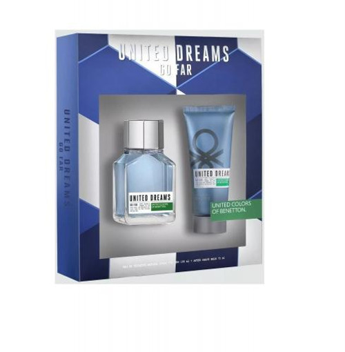 BENETTON UNITED DREAMS GO FAR 2 PCS SET FOR MEN: 3.4 EAU DE TOILETTE SPRAY + 2.5 AFTER SHAVE BALM (WINDOW BOX)