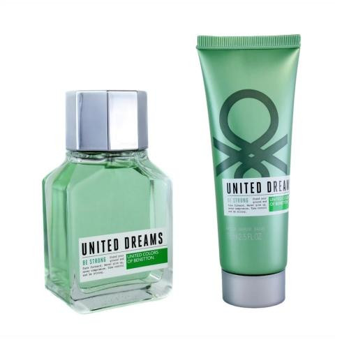 BENETTON UNITED DREAMS BE STRONG 2 PCS SET FOR MEN: 3.4 EAU DE TOILETTE SPRAY + 2.5 AFTER SHAVE BALM