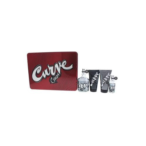 CURVE CRUSH 4 PCS SET FOR MEN: 4.2 COLOGNE SPRAY + 2.5 HAIR & BODY WASH + 2.5 SKIN SOOTHER + 0.5 OZ COLOGNE SPRAY (METAL BOX)