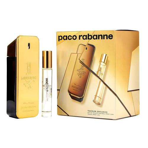 PACO ONE MILLION 2 PCS SET: 3.4 EAU DE TOILETTE SPRAY + 0.68 OZ EAU DE TOILETTE TRAVEL SPRAY (TRAVEL SET)