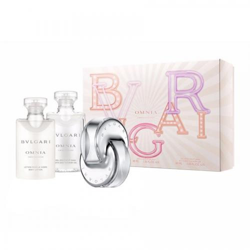 BVLGARI OMNIA CRYSTALLINE 3 PCS SET: 1.35 EAU DE TOILETTE SPRAY + 1.35 BODY LOTION + 1.35 BATH & SHOWER GEL (HARD BOX)