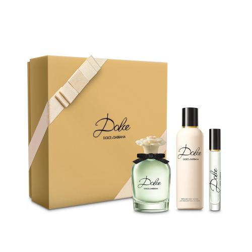DOLCE BY DOLCE & GABBANA 3 PCS SET: 2.5 EAU DE PARFUM SPRAY + 3.3 PERFUMED BODY LOTION + 0.25 OZ EAU DE PARFUM ROLLERBALL (HARD BOX)