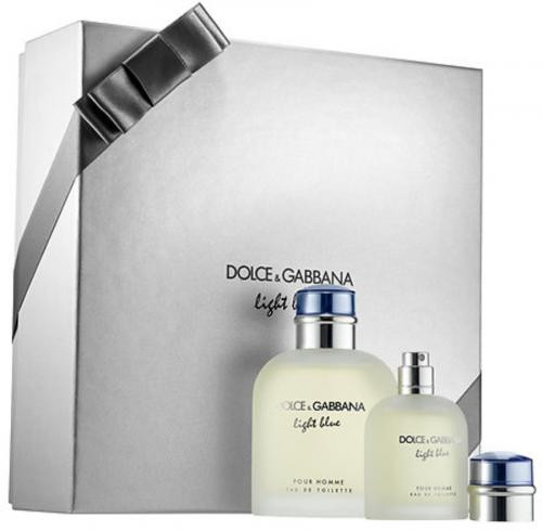 DOLCE & GABBANA LIGHT BLUE 2 PCS SET FOR MEN: 4.2 EAU DE TOILETTE SPRAY + 1.3 EAU DE TOILETTE SPRAY (HARD BOX)