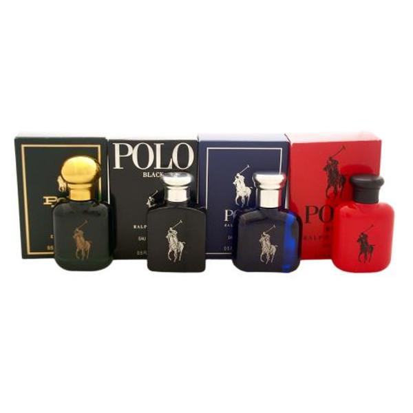 POLO 4 PCS MINI SET FOR MEN: POLO 0.5 OZ EAU DE TOILETTE + POLO BLACK 0.5 OZ EAU DE TOILETTE + POLO BLUE 0.5 OZ EAU DE TOILETTE + POLO RED 0.5 OZ EAU DE TOILETTE