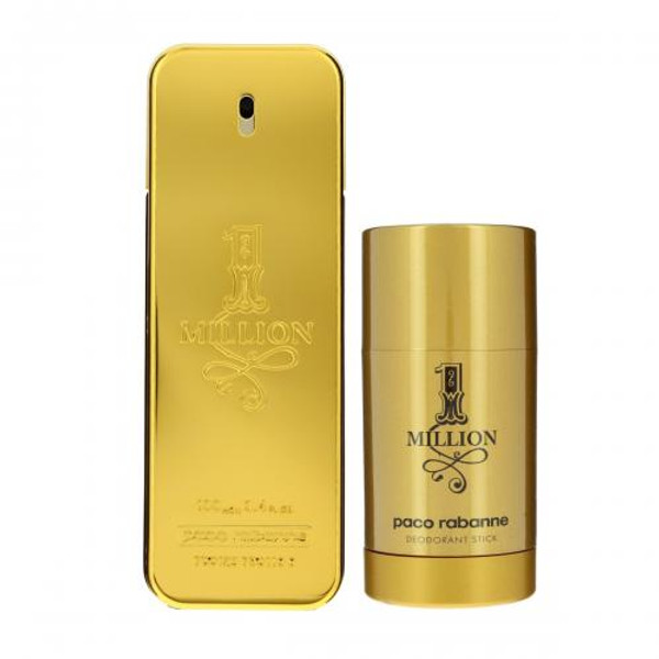 PACO ONE MILLION 2 PCS SET: 3.4 EAU DE TOILETTE SPRAY + 2.3 OZ DEODORANT STICK (TRAVEL SET)