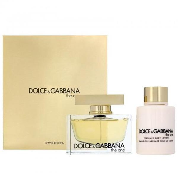 DOLCE & GABBANA THE ONE 2 PCS SET FOR WOMEN: 2.5 EAU DE PARFUM SPRAY + 3.3 PERFUMED BODY LOTION (TRAVEL SET)