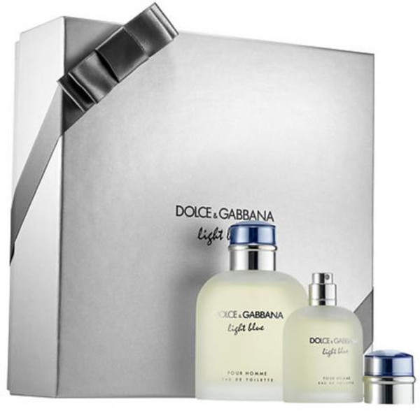 DOLCE & GABBANA LIGHT BLUE 2 PCS SET FOR MEN: 4.2 EAU DE TOILETTE SPRAY + 1.3 EAU DE TOILETTE SPRAY (HARD BOX)