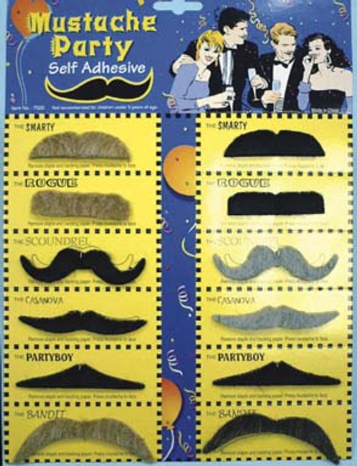 Set of 12 Assorted Moustache styles with Tape