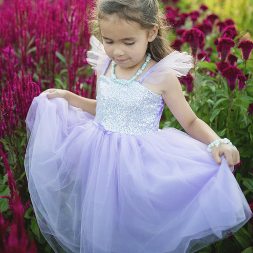 Lilac Silver Sequins Princess Gown