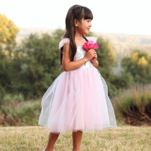 Pink Silver Sequins Princess Gown