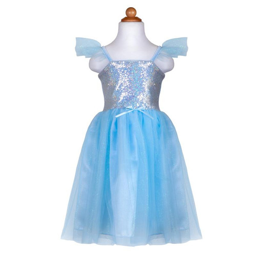 Blue Silver Sequins Princess Gown
