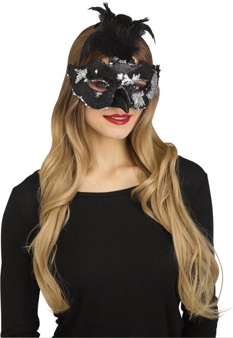 Raven Sequin Mask
