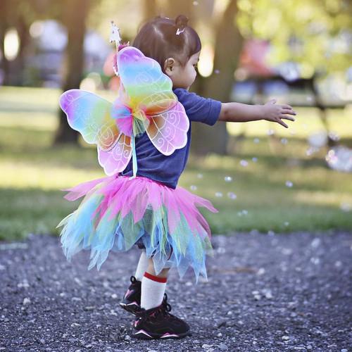 Neon Rainbow Skirt and Wings Set